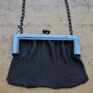 Vintage Metal Fine Mesh Purse with Black Rhodium